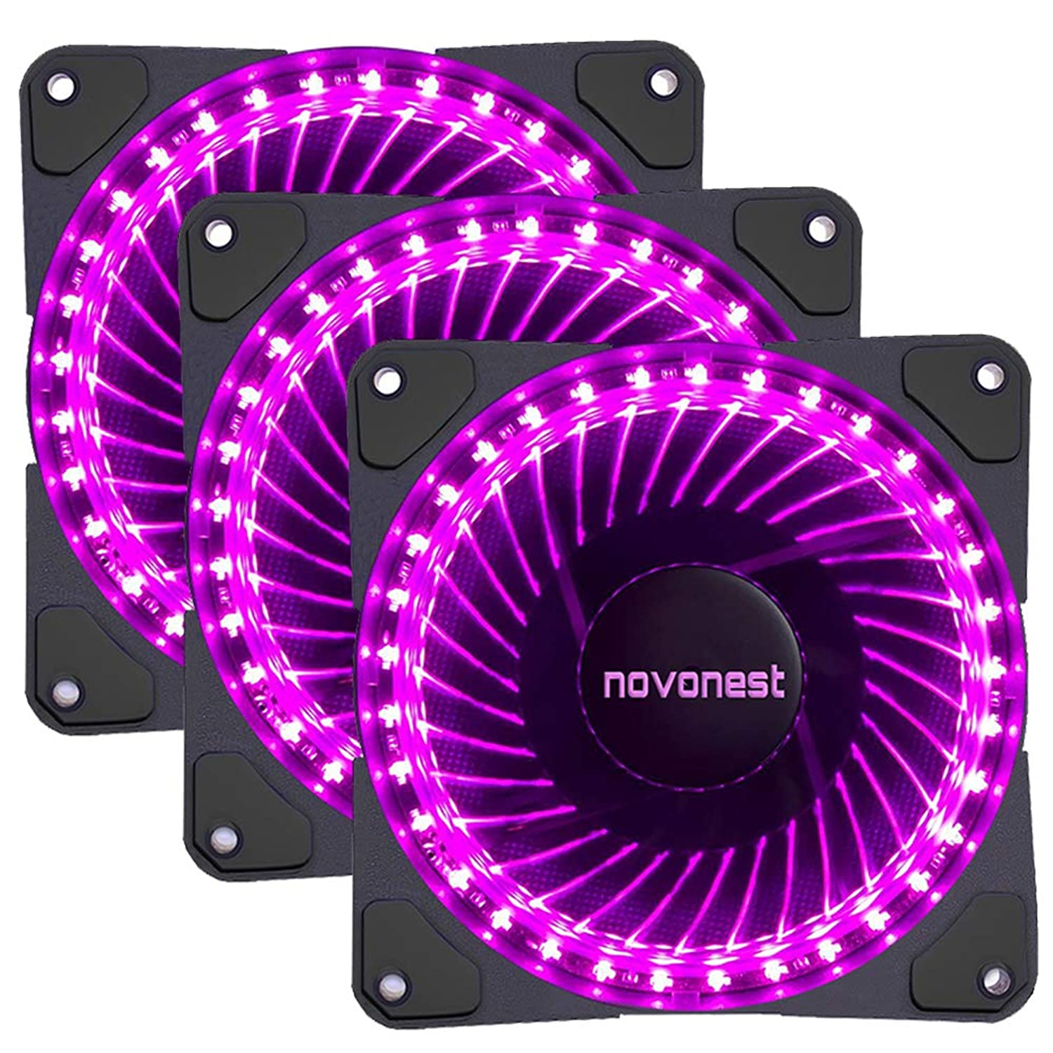 upHere- 120mm Sleeve Bearing 3-Pin 32 Purple LED Silent Fan for Computer Cases, CPU Coolers, and Radiators-Purple,32P3-3
