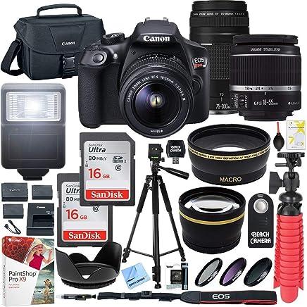 Canon EOS Rebel T6Cámara réflex digital con lente EF-S 18–55mm f/3.5–5.6IS II y EF 75–300mm f/4–5.6III Lens y dos (2) 64GB tarjetas de memoria Plus Triple battery accesorio Bundle