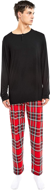 LaChica Womens Pajama Set Long Sleeve Sleepwear Plaid Print Modal Nightwear Soft Pjs Lounge Sets