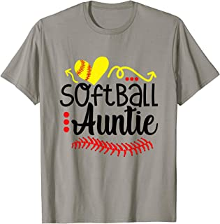 Women's Softball Auntie gift Aunt Squad Cute Mom T-Shirt