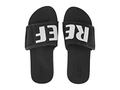 Reef Cushion Bounce Slide (Black/White/Logo) Men