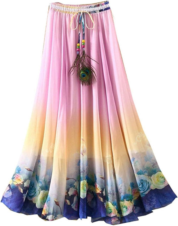 Kaxuyiiy Women's Peacock Feather Rose Flower Beach Maxi Long Skirt