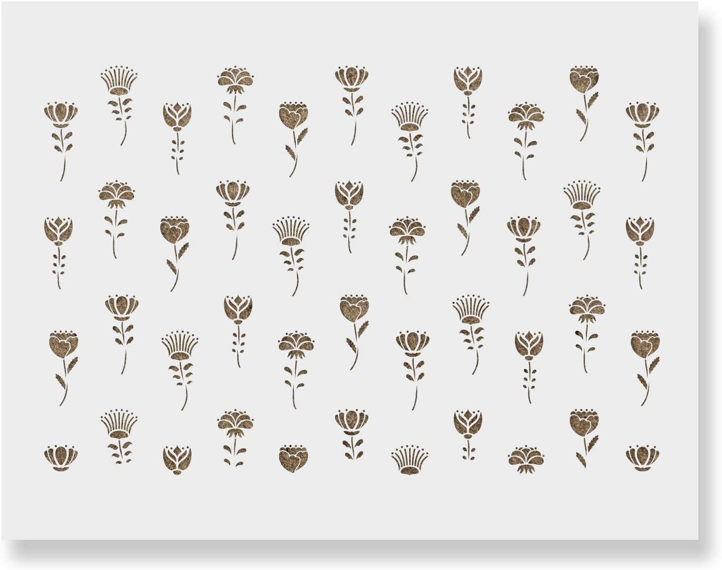 Dallas Mall Flower Stem Pattern Wall Stencil - Decorate A surprise price is realized Home Your Less for
