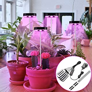 4 Head LED Grow Light for Indoor Plants, 80 Lamp Beads Adjustable Plant Growth Light, 5 Levels Dimming, 3/6/12H Timer, 3 L...
