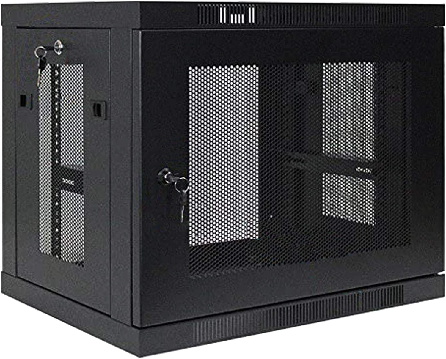1 Set of 9U Network Server Data Cabinet Black Rack Perforated Door Lock,Apply to Network Wiring Room,Computer Room,Data Room,Control Center,Home,Office,etc.