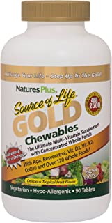 NaturesPlus Multivitamin Source of Life Gold Multivitamin Chewables - 90 Tablets - Tropical Fruit Flavor - Organic Whole F...