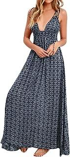 SRYSHKR Women's Boho Casual Long Maxi Evening Party Beach Dress Sundress