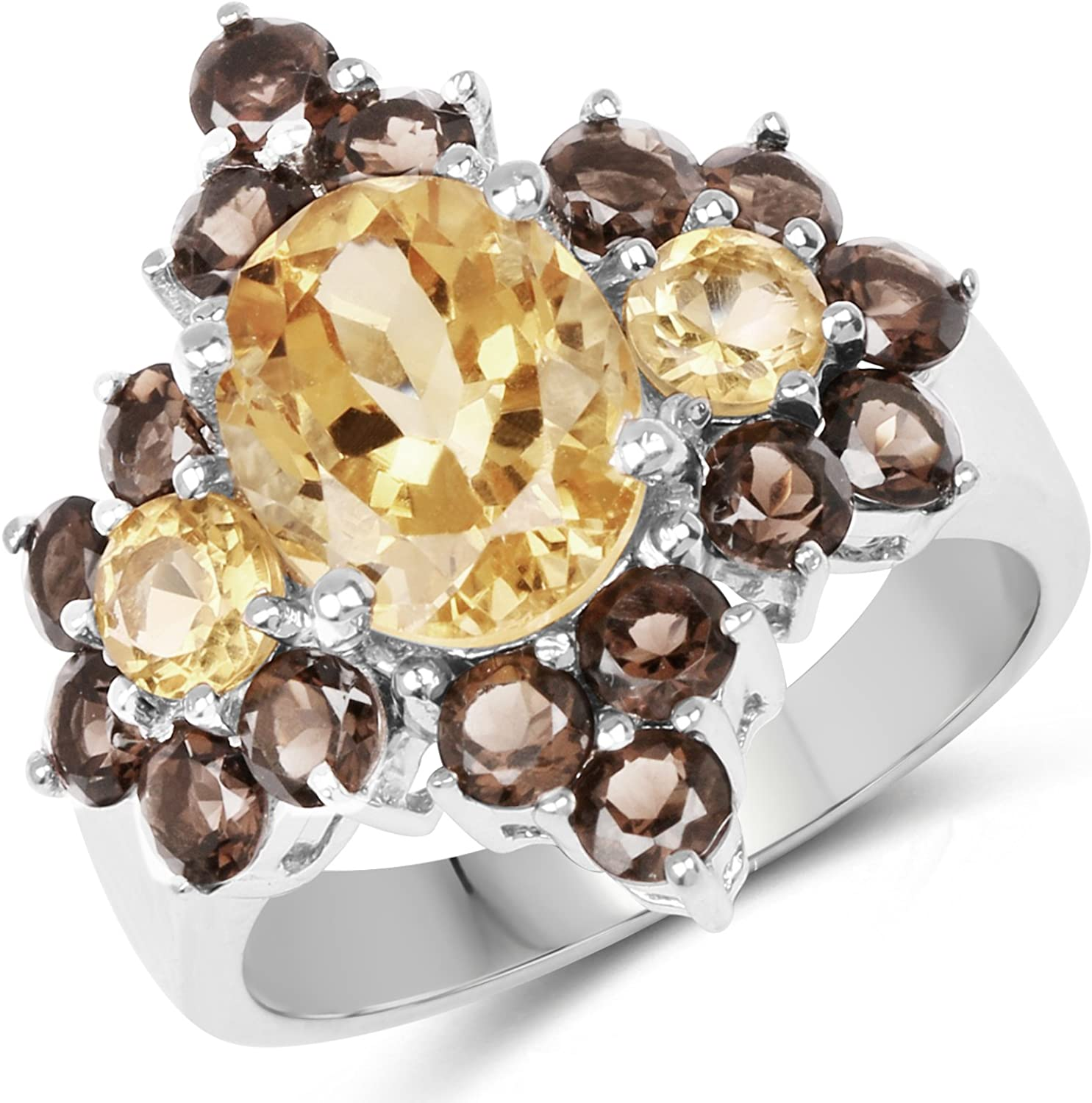925 Sterling Silver Wholesale Genuine Citrine and 4.72 Smoky New Free Shipping Ring Quartz