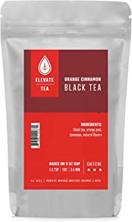 Elevate Tea ORANGE CINNAMON BLACK TEA, 30 servings, 3 Ounce Pouch, Caffeine Level: High, Single Unit