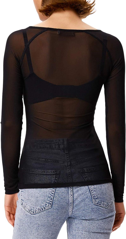 GRACE KARIN Women's Long Sleeve See Through Mesh Sheer Top Blouse Shirt
