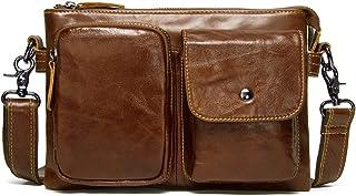 Contacts Genuine Leather Mens Messenger Crossbody Shoulder Bag Small Travel Handbag