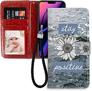 iPhone 11 Pro Max (2019) 6.5 Version Wallet Case Stay Positive Sunflower Ocean Quotes for Girl