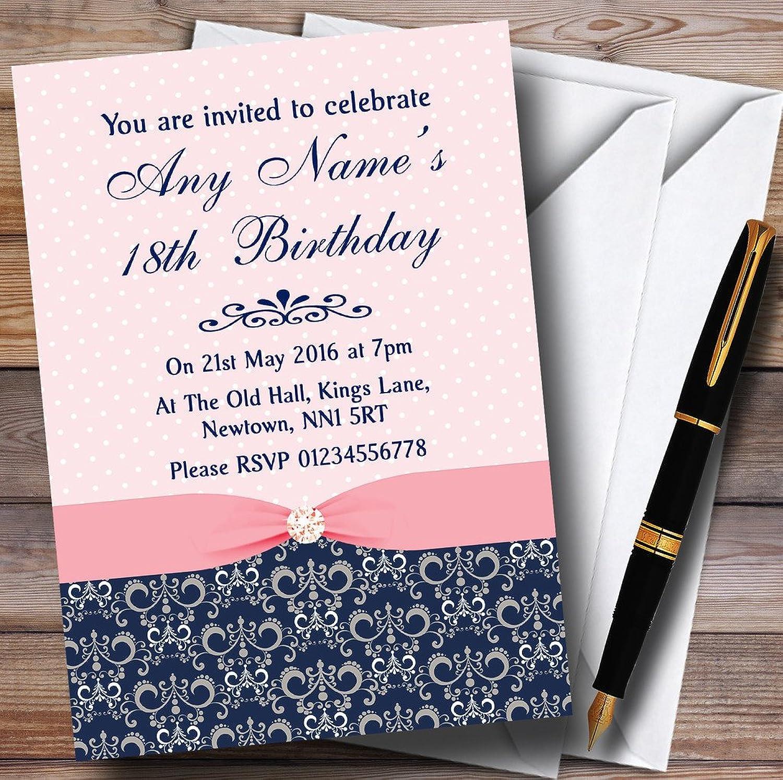 Dusky Coral Pink Vintage Diamond Bow Personalised Birthday Party Invitations   Invites & Envelopes