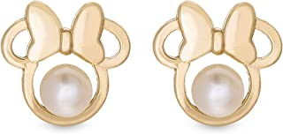 Gold Jewelry for Woman and Girls, Minnie Mouse 14K Gold Pearl Stud Earrings Mickey's 90th Birthday Anniversary.