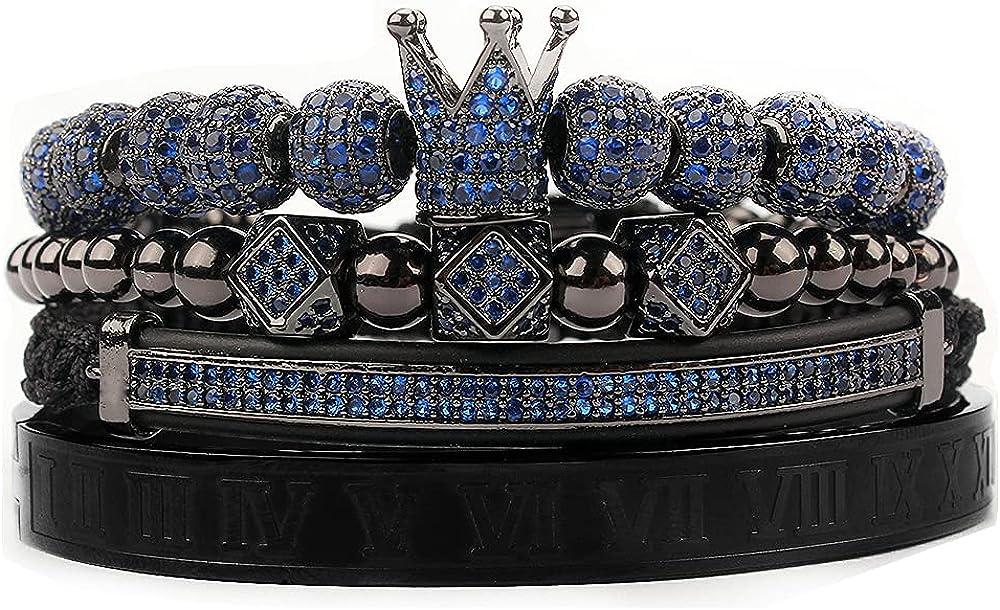 4pcs set Bangle Men Bracelet charms Max 79% OFF crown Miami Mall Macrame beads jewelry