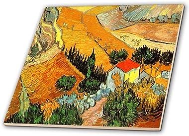 3dRose ct_48156_4 Van Gogh Landscape Ceramic Tile, 12-Inch