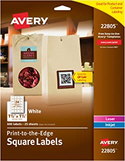 Avery Square Labels for Laser & Inkjet Printers, Print-to-The-Edge, 1.5