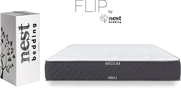 FLIP By Nest Bedding Amazon Exclusive Double Sided Hybrid Bed In A Box Cooling Gel Foam And Caliber Coil CertiPUR US 10 Year Warranty Made In The USA