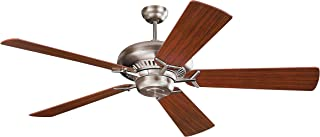 Monte Carlo 5GP60BS Flush Mount, 5 White / Cream Blades Ceiling fan, Brushed Steel