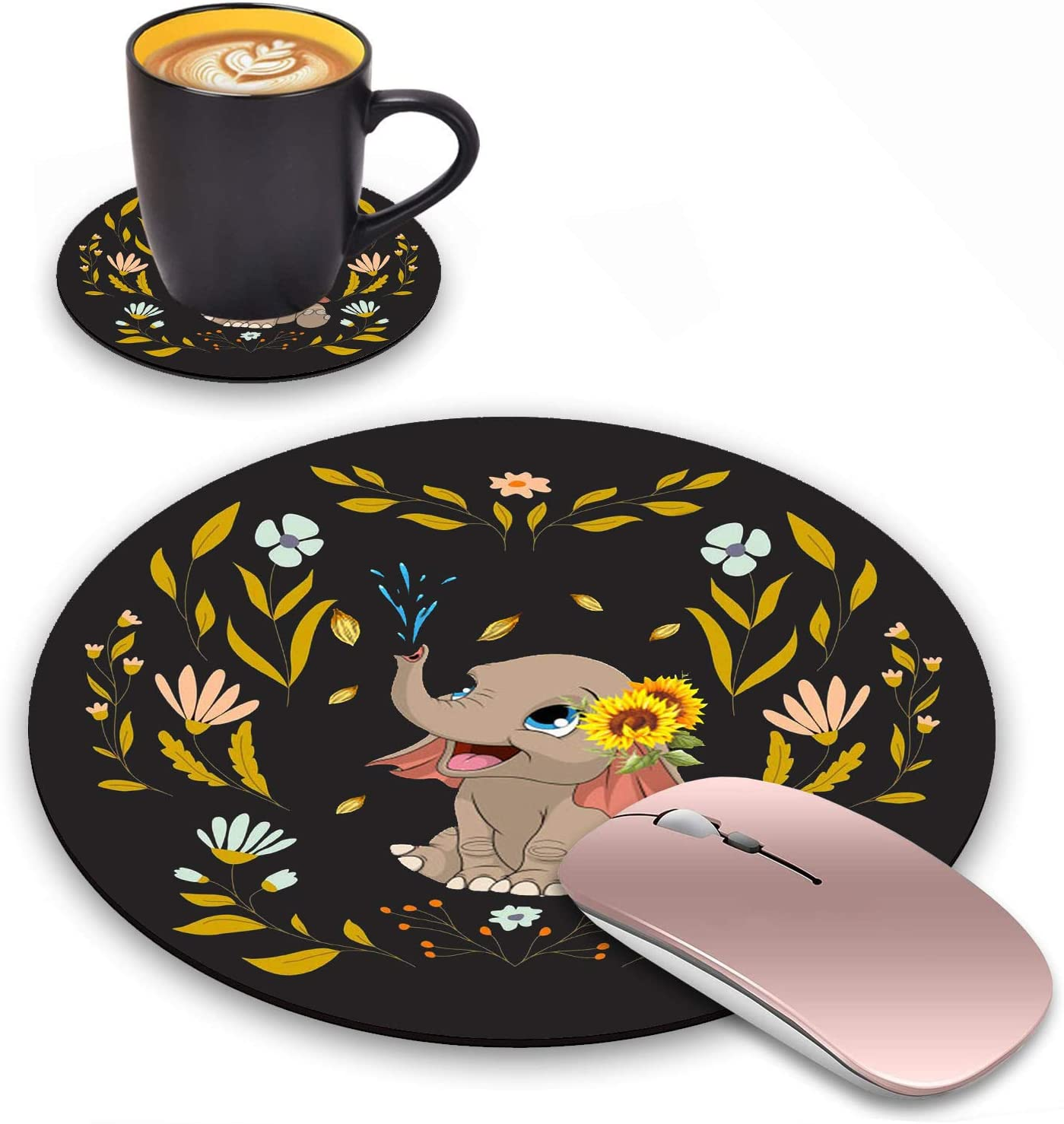 LACOMA Round Mouse Pad Washington Mall and Coasters Set D Elephant Quote Floral online shop