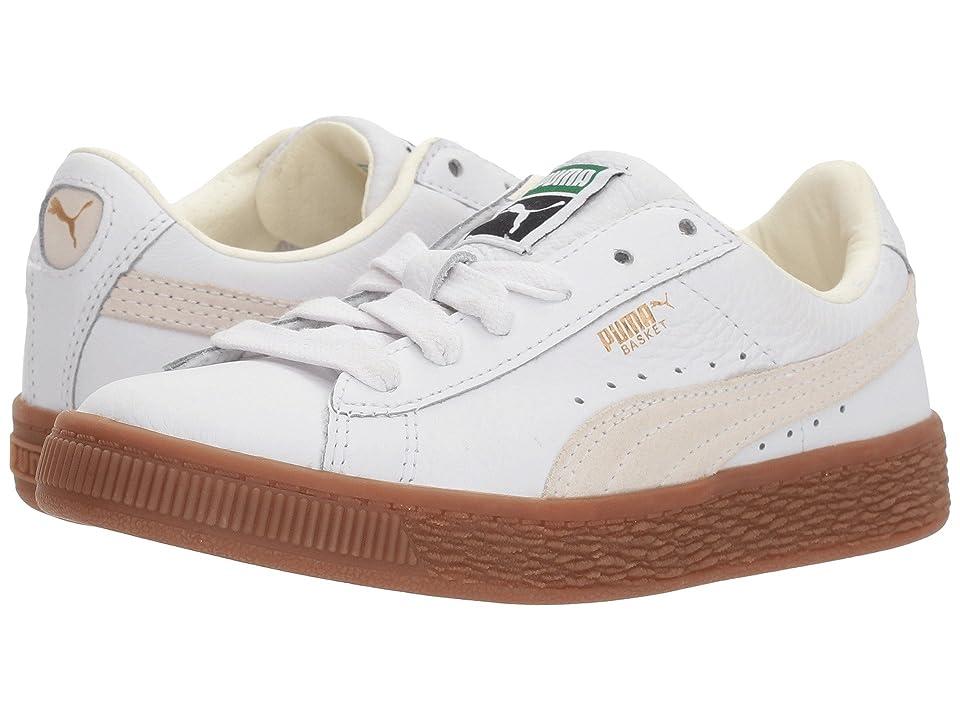 Puma Kids Basket Classic Gum Deluxe (Little Kid) (Puma White/Puma White) Kids Shoes