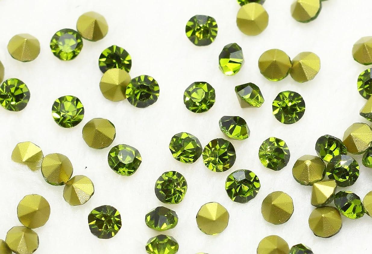 セージ征服感じガラス製 Vカットストーン(埋込型) olivine/オリーブ 各サイズ選択可能 (1.4mm (SS3) 約1440粒) [並行輸入品]