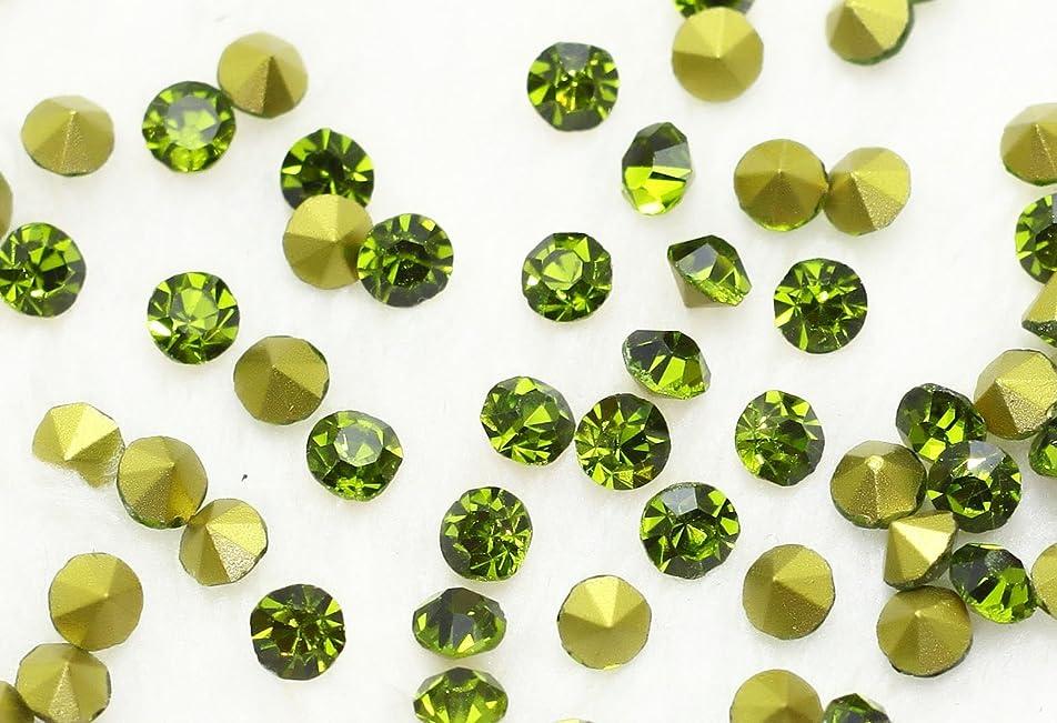 一元化する耐久汚れるガラス製 Vカットストーン(埋込型) olivine/オリーブ 各サイズ選択可能 (4.0mm (SS16) 約1440粒) [並行輸入品]