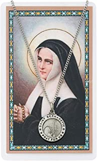 Saint Bernadette 3/4-inch Pewter Medal Pendant Necklace with Holy Prayer Card