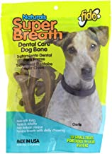 product image for Fido Super Breath Dental Care Bones for Dogs, Made with Kelp, Parsley and Chlorophyll - Naturally Freshens Breath, Reduces Plaque and Whitens Teeth - 13 Small Treats Per Pack