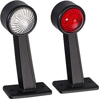 Positionsleuchte Seitliche Gummi Begrenzungsleuchte Seitenleuchte von LiNKFOR 12/24V mit E Prüfzeichen für Auto LKW PKW KFZ Lampe Leuchte Licht Weiß Rot 2stk 12Leds