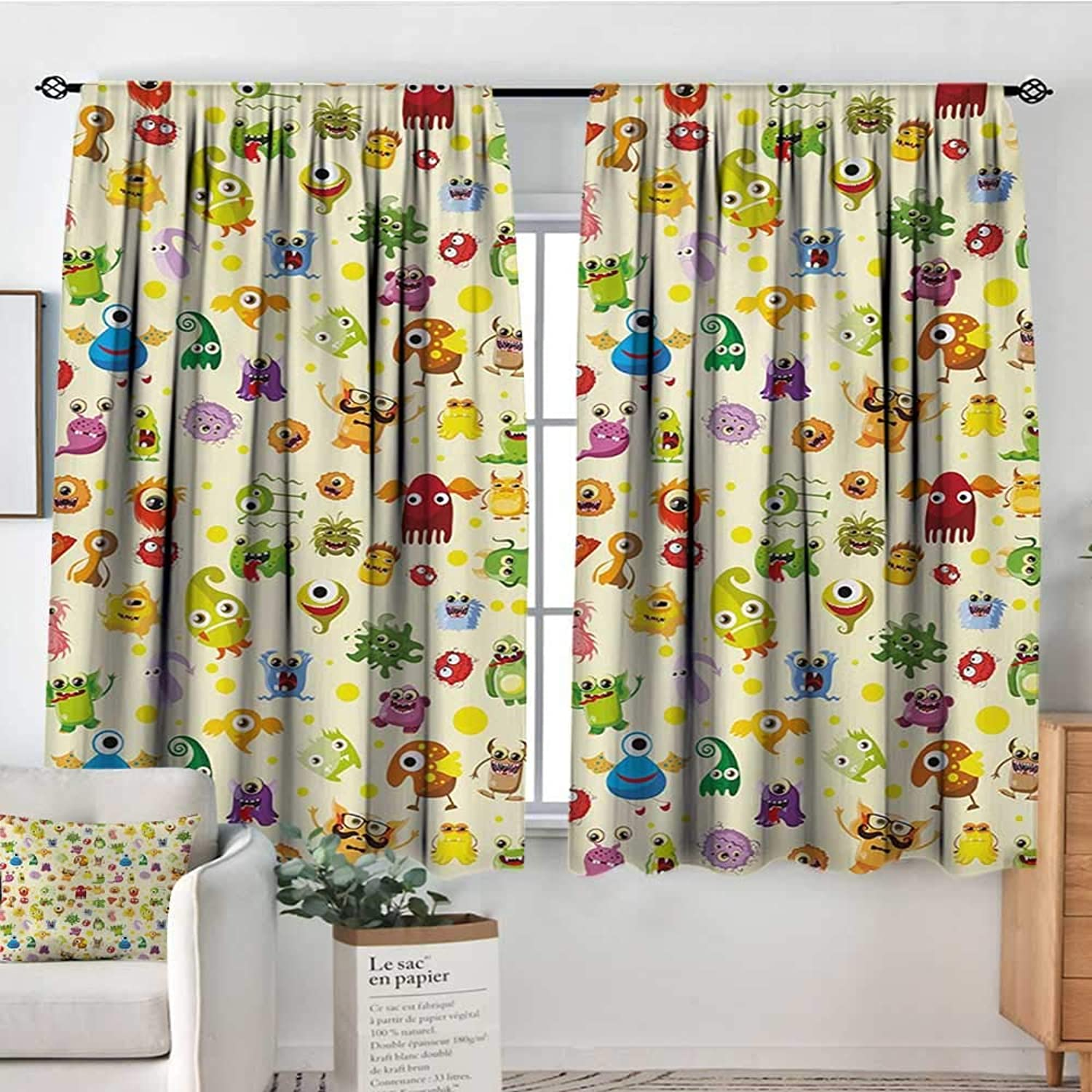 Elliot Dgoldthy Home Decoration Thermal Insulated Curtains Kids,Drawings Different Cartoon Style Characters Cute Monsters Funny Animals and Mutants,Multicolor,for Bedroom,Nursery,Living Room 55 x45