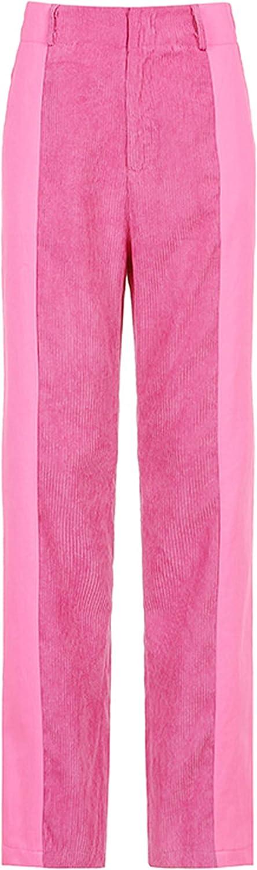 Lentta Women's Corduroy Pants Casual Loose Patchwork Mid Rise Straight Leg Trousers