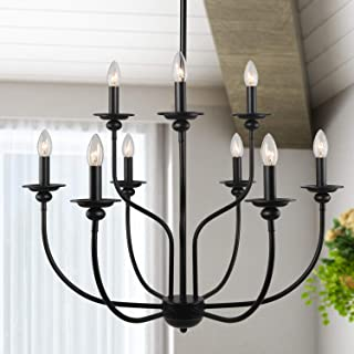 """LALUZ 9 Lights French Country Metal Chandelier 2-Tier Dining Room Fixture in in Painted Black Finish, Vintage, 30"""" for Large Kitchen Island, A03233"""