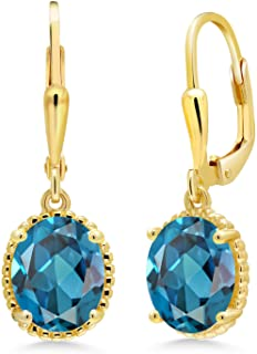Details about  /4.0 Round Solitaire Classic Drop Dangle Royal Blue Topaz Earrings 14k White Gold
