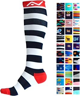 Compression Socks (1 pair) for Women & Men by A-Swift (Stripey, L/XL)