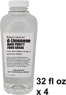 Blubonic Food Grade d-Limonene HP (Highest Purity) Orange Oil, Solvent, Medicinal, Cleaner, Degreaser, dLimonene (Gallon - 32 fl oz x 4)