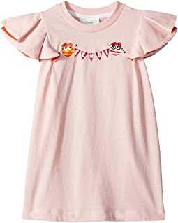 Fendi Kids Ruffle Sleeve Logo Pom Pom Graphic T-Shirt (Toddler)