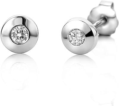 Miore Orecchini Donna Punto Luce a Lobo con Diamanti taglio Brillante Ct. 0.08 in Oro Bianco/Giallo 14 Kt 585, Orecchini realizzati a mano da maestri Orafi di Valenza PO