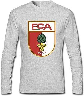 Men Fc Augsburg Logo Retro Long Sleeve T-Shirt Black By Rahk