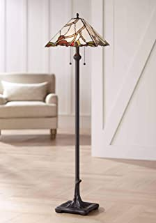 Country Cottage Floor Lamp Bronze Tree Root Cherry Blossom Pattern Stained Glass for Living Room Reading - Robert Louis Tiffany