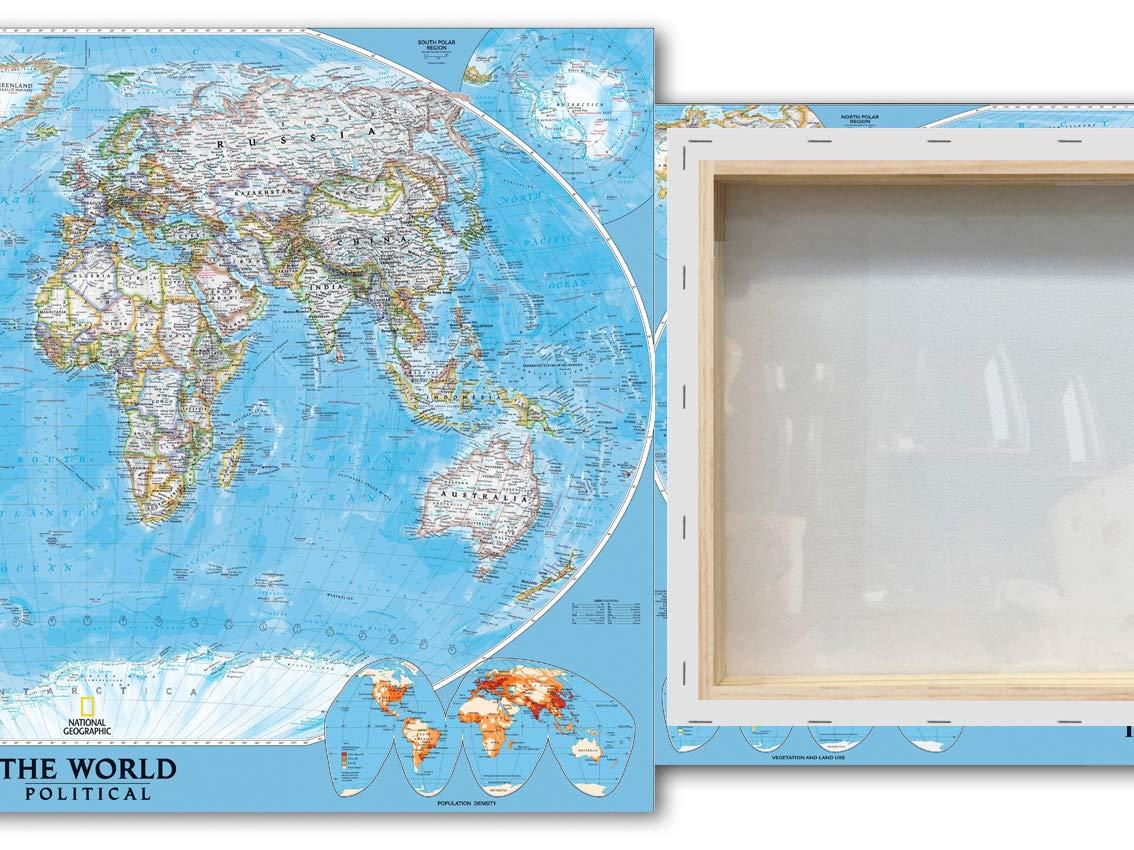Desconocido Cuadro Lienzo Mapamundi político Azul - Lienzo de Tela Bastidor de Madera de 3 cm - Fabricado en España - Varias Medidas - Impresión en Alta resolución (80, 54): Amazon.es: Hogar