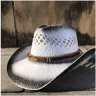 LiWen Zheng 2019 Retro Straw Western Cowboy Hat Summer Womem Men Cowgirl Fedora Jazz Hat Beach Sombrero Hombre Lifeguard Sun Hats Tassel Band Adjusted 56-58CM