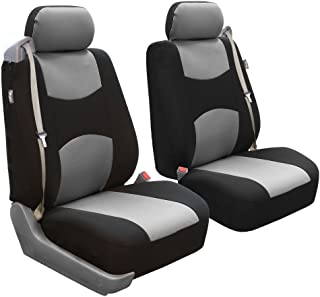 FH Group FB351GRAY102 Gray Flat Cloth Built-in Seatbelt Compatible Low Back Seat Cover, Set of 2