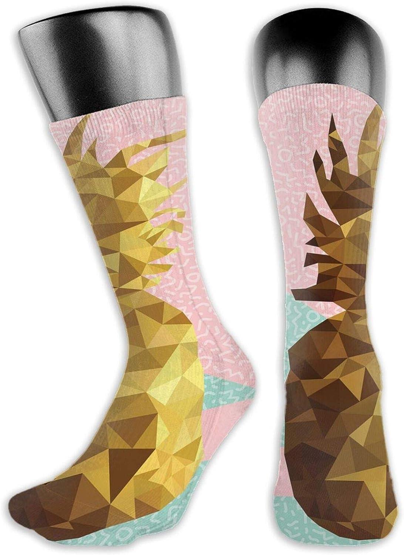 Socks Compression Medium Calf Sock,Cartoon Braying Donkey With Hee Haw Text Funny Domestic Animal Portrait