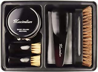 Deluxe Business Leather Shoe Care Kit - 100% Horsehair Brush, 2 Shoe Polish Applicator Brush, Black & Neutral Polish (40g), Shoehorn, Buffing/Shining Cloth with Black Metal Case, Portable