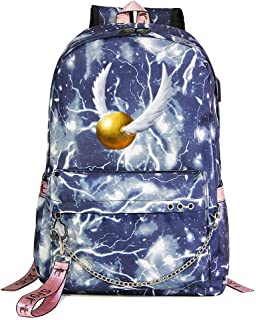 Mochila Harry Potter, Mochila Informal para la Universidad, Insignia de Hogwarts, Bolso de Escuela Blue Lightning estilo-24