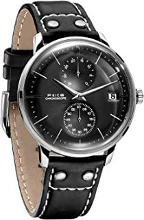 Men's Automatic Watch Mechanical Watch Stainless Steel Leather Band Watches Analog Curved Mirror Brushed Finish Casual Dress Watches for Men #FM212