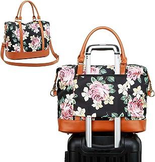 CAMTOP Women Ladies Beach Travel Weekender Bag Overnight Carry-on Beach Tote Duffel Luggage with Trolley Sleeve (Flower-Black)