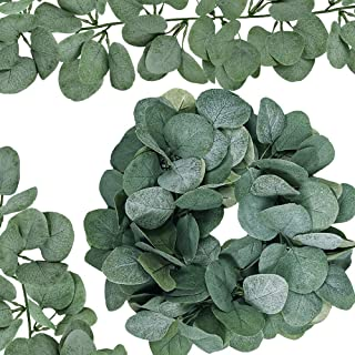 Supla 6' Long Eucalyptus Garland Faux Silver Dollar Eucalyptus Leaves Garland Greenery Garland Wedding Hanging Eucalyptus Vine Arch Swag 164 Pcs Leave in Grey Green for Backdrop Photo Booth Boho Decor