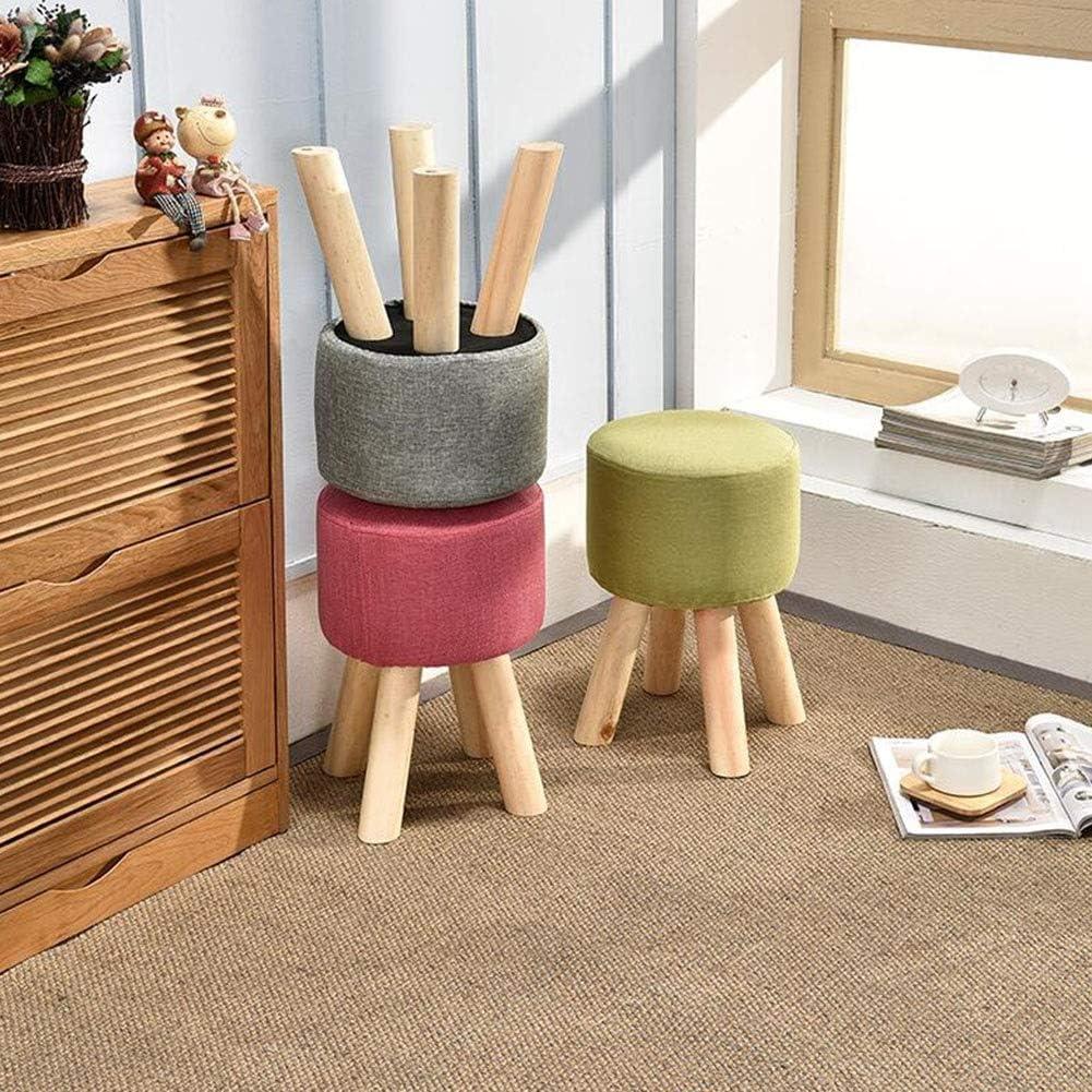 DALL Tabouret Bois Massif Tabouret Canapé Mode Moderne Petit Tabouret Couverture De Lin Tabouret De Maquillage Salon Chambre Cuisine (Color : Green) Gray 1